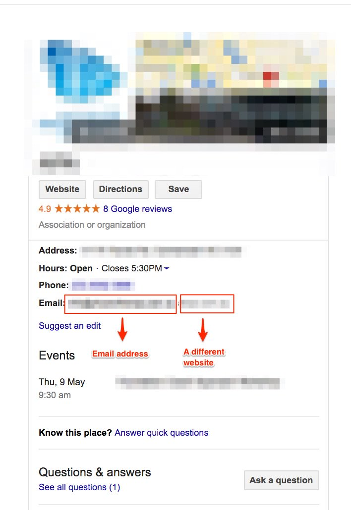 Google My Business now showing an email address field