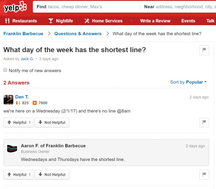 Franklin Barbecue   Questions   Answers   What day of the week has the shortest line .jpg