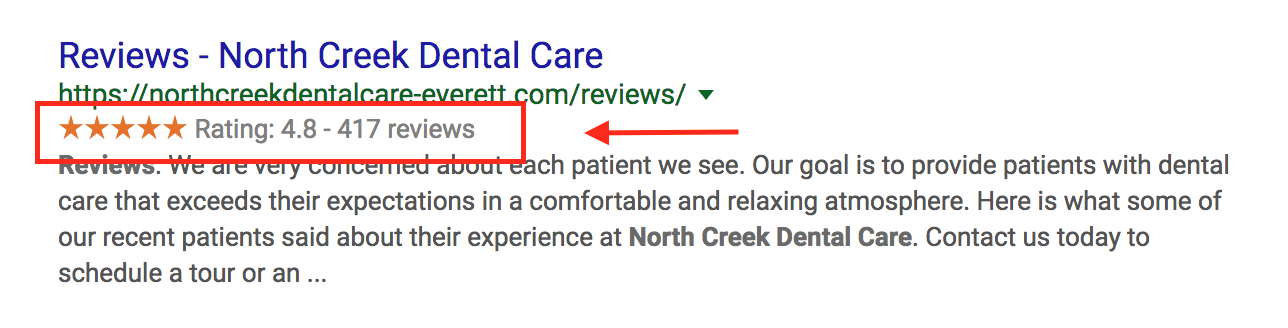 stars-in-organic-serps-North-Creek-Dental.png