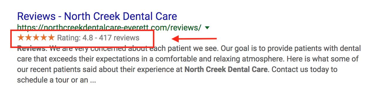 stars-in-organic-serps-North-Creek-Dental.png
